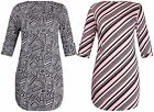 Womens New Plus Size Print Ladies Turn Up Half Sleeve Shaped Hem Long Dress Top