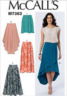 McCalls 7363 Easy Flared Elasticated Skirts Shaped Hem Sewing Pattern M7363 5in1