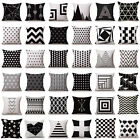 Black White Geometry Throw Pillowcase Cotton Linen Cushion Cover Sofa Home Decor