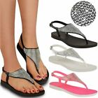 Jelly Diamante Sandals Womens Ladies Flat Flip Flop Beach Summer New Shoes Size