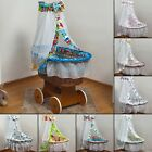 Baby bedding set for wicker moses, cotton canopy + wicker moses with large wheel