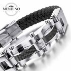 MENDINO Men's Stainless Steel Leather Bracelet Cuff Braided Clasp Bangle Silver