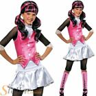 Girls Draculaura Costume Monster High Halloween Fancy Dress Outfit & Wig