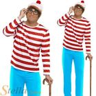 Mens Wheres Wally Costume Book Week Stag Fancy Dress Outfit + Hat + Glasses