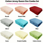 100% Cotton JERSEY T-Shirt Combo Fitted Sheet + 2 Pillowcases - QUEEN SIZE