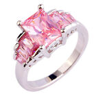Noble Pink Topaz Gemstone Fashion Women Jewelry Silver Ring Size 6 7 8 9 10