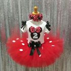 Red Minnie Mouse Onesie, little bows & Tutu Outfit Birthday embroidered any Name