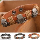 HX 1PC Women/Men`s Leather Skull Bracelet Charm Punk Jewelry Cuff Adjustable