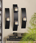 3 pc Black metal Modern Art Deco Artisanal hurricane Candle Holder Wall Sconce