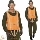 Mens Deluxe Aviator Wartime Pilot WW2 Military Flight Suit Fancy Dress Costume