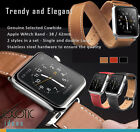 Genuine Quality Leather Apple Watch Band Single + Double Loops 2 Styles in a Set