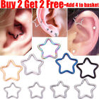 Daith Star Surgical Steel Ring Hoop For EarDaith Helix Cartilage Tragus Piercing