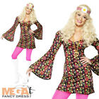 Peace Hippie Ladies Fancy Dress 60s 70s Hippy 1960s Womens Costume Outfit New