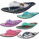Womens Girls Gumbies Summer Flip Flops Beach Sandals Toe Post Canvas Shoes NEW