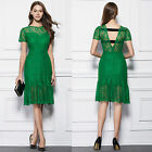 New Sexy Green Lace Knee-length cocktail Party Prom Evening mermaid Short Dress