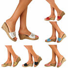 Ladies Platform Wedge Block High Heels Peep Toe Sandals Slip On Shoes Size UK