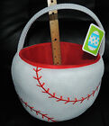 NWT Baseball Plush Gift Basket Bucket ~ Any Occasion ~ From Smoke Free Home