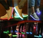 LED Unisex Light Up Laced Luminous Shoes - USB Charger - White - Casual Sneakers