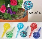 "6 Colorful Glass 6"" Globe Ball Vacation Hanging Plant Water Aqua Watering Stake"