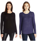 New Womens CALVIN KLEIN TEXTURED OPEN KNIT CREW SWEATER YOU PICK SIZE & COLOR