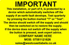 Electrical Safety Warning Labels - RCD TEST - Personalised Free 76mm x 50mm