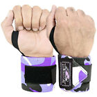 BS WEIGHT LIFTING TRAINING WRIST SUPPORT WRAPS GYM BANDAGE STRAPS CAMO GREY 18""