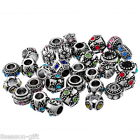 Gift Wholesale Mixed Rhinestone European Spacer Beads 10x6mm-11x11mm