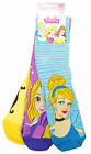 Girls Disney Princess Cinderella Belle Rapunzel Pack 3 Pairs Socks Size 6 - 6.5