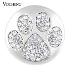 20PCS/Lot Snap Charms Vocheng 18mm Bling Paw Print Crystal Button Vn-1135*20
