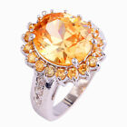 Round Charming Women's Morganite White Topaz Gems Silver Ring Size 6 7 8 9 10