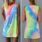 Women Summer Sleeveless Fashion Vogue Vest Top Blouse T-Shirt Mini Dress FMXC