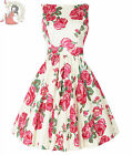 LADY VINTAGE 50's PINK ROSE ON CREAM floral TEA DRESS