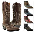 Womens Overlay Studded Genuine Leather Cowboy Boots Snip Toe Black Red Turquoise