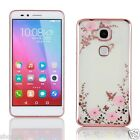 Electroplating Frame Bling Crystal Diamond Flower Soft TPU Cover Case For Huawei