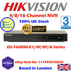 HIKVISION UK 8CH NVR 1080P HD CCTV NETWORK RECORDER, 8POE 5MP HDMI VGA UK STOCK