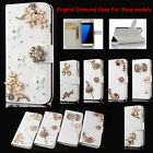 Bling Crystal Diamonds PU Leather Flip Slots Stand Wallet Case Cover For Asus