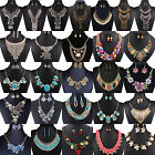 N Jewelry Pendant Chain Crystal Choker Chunky Statement Bib Necklace Earring Set