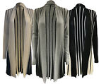 Womens Ladies Girls Long Sleeve Boyfriend Cardigan Top Open Two Tone Flared