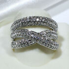18K White Gold Filled AAA Clear CZ Women Fashion Jewelry Ring R7550-1 Size 5-10