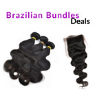 Top Closure+Braizilian Bundles+Wig Cap Natural Black Virgin Remy Human Hair Lot