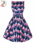 LADY VINTAGE 50's FLAMINGO floral TEA day DRESS