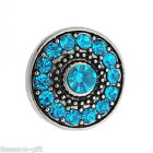 Gift Wholesale Snap Button Fit DIY Snap Bracelet Lake Blue Rhinestone Round