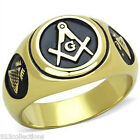 316 Stainless Steel Mason Masonic Black Enamel Clear Crystal Men Ring Size 8-13