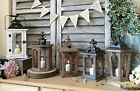 Wood & Metal Lantern Vintage Candle Tea Light Holder Garden Wedding Decoration