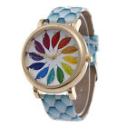 Gift Multicolour Leaves Pattern Womens Ladies Casual Faux Leather Quartz Watches