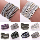 Fashion Leather Wrap Wristband Cuff Punk Crystal Rhinestone Bracelet Bangle Gift
