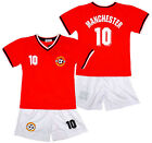 Boys MANCHESTER Logo Sport T-Shirt Top & Shorts Outfit Kit Set 2-14 Years NEW