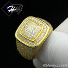 MEN 925 STERLING SILVER LAB DIAMOND FULL ICED OUT BLING SQUARE GOLD RING*GR52