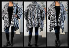 Plus size ZIbra Print Asymmetrical Velboa Warm (Velvet)Swing Jacket Coat.