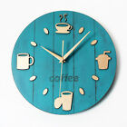 Coffee Cup Wall Clock Pastoral Retro Vintage Watch Home Decor Kitchen 12